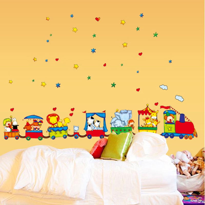 Wall Stickers Pvc Cute Happy Animals Train Wall Stickers For Baby