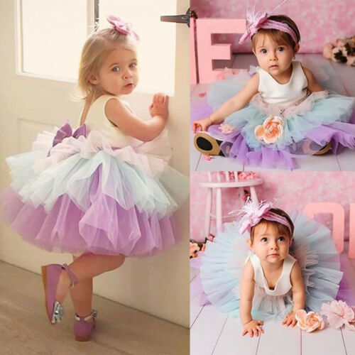 Sweet   Flower     Girls   Sleeveless   Dress   Princess Kids Baby Three-color Gradient Lace Bow Tutu Party Wedding Gown Formal   Dress