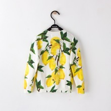 Mother and Daughter Lemon Printed Knitted Sweaters Cardigan