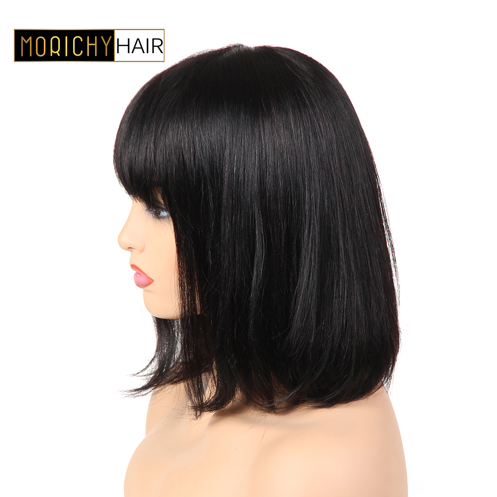 Morichy Human Hair Bob Wigs With Bangs Short Human Hair Wigs For Women Brazilian Hair Straight Wigs Shoulder Length Remy Hair