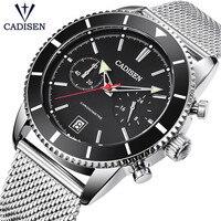 Мужские s часы CADISEN Топ бренд класса люкс Полный сталь водонепроницаемые спортивные часы мужские Кварцевые военные наручные часы Relogio Masculino