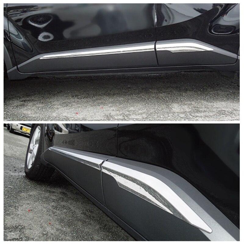 MONTFORD For Toyota C HR CHR 2016 2017 ABS Chrome Side Door Line Body Molding Strips Garnish Molding Cover Trims 4Pcs Auto Part