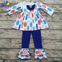 Wholesale Children's Boutique Clothing Feather Printing Ruffle Pants Fall and Winter Outfit Baby Clothes