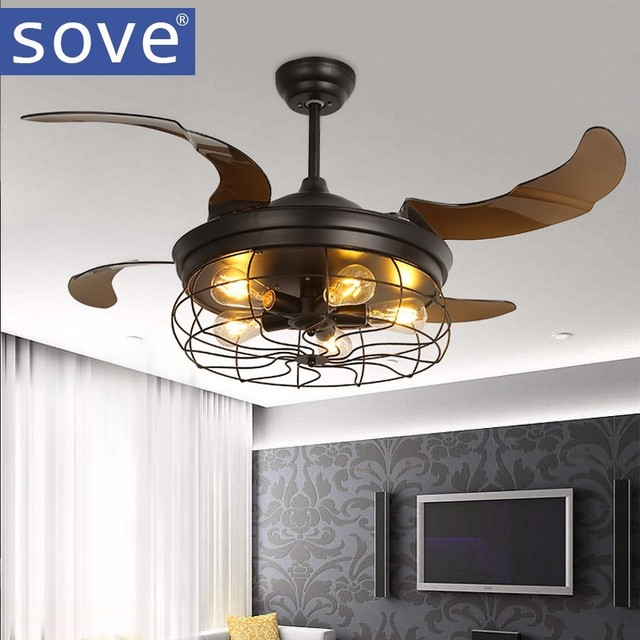 42 inch Edison light bulb Village Folding Ceiling Fans With Lights     42 inch Edison light bulb Village Folding Ceiling Fans With Lights  Classical Loft Living Room Industrial