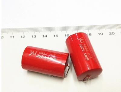 Free Shipping one lot 4pcs 1UF/1.5UF/<font><b>2.2UF</b></font>/3.3UF/4.7UF/5.6UF/6.8uF/8.2UF/10UF/12UF/15UF 250V Tubular Audio <font><b>Capacitor</b></font> 685J New image