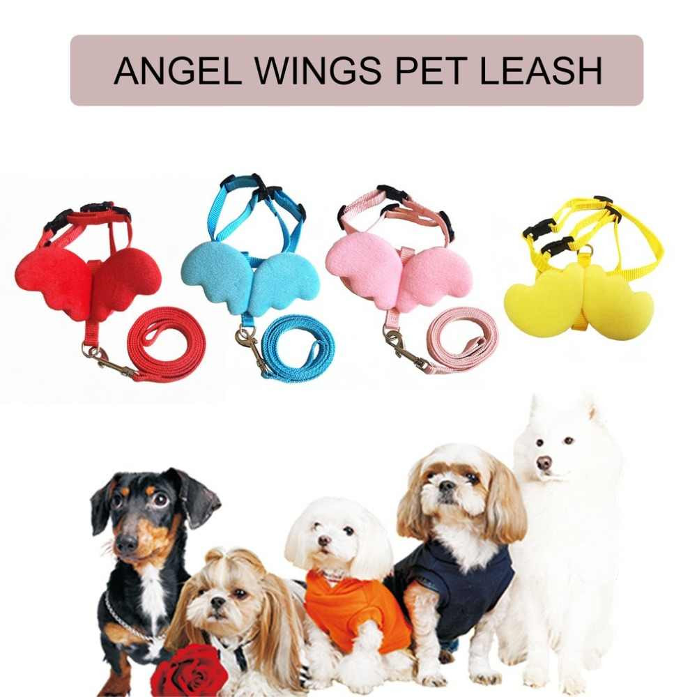 Cute Pet Dog Leashes Collars Set for Small Pet Adjustable Dog Harness with Angel Wings Nylon Strap Pet Accessories