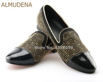 ALMUDENA Noble Gentlemen Glittering Rhinestone Slip-on Loafers Patchwork Glittering Banquet Office Meeting Shoes Dress Shoes фото