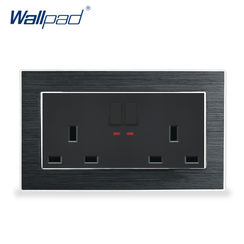 цена на 2 Gang 6 Pin 13A UK Socket With Switch Wallpad Luxury Satin Metal Panel 146 Switched Wall Power Outlet with LED Indicator