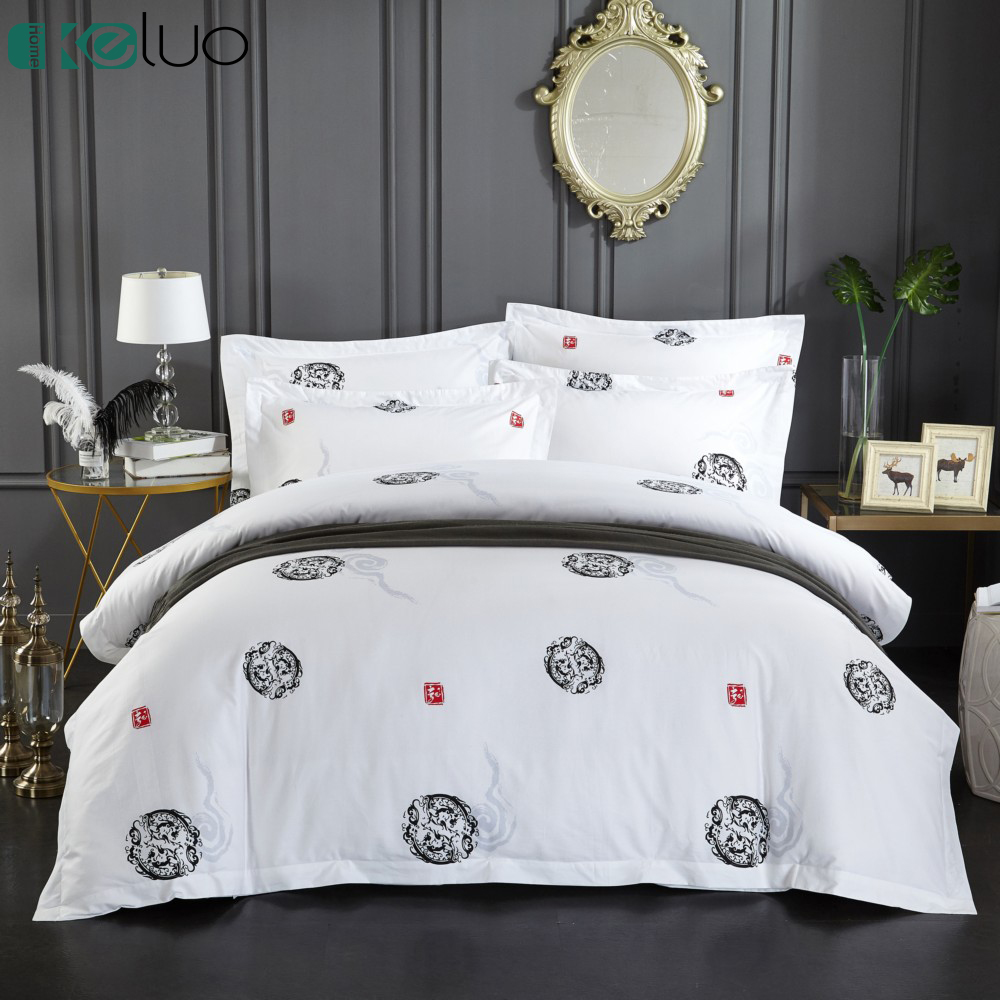 KELUO 100% Egyptian cotton bedsheets 5 star luxury Hotel Bedding set  Include Duvet cover Flat sheet Pillowcase Chinese styleKELUO 100% Egyptian cotton bedsheets 5 star luxury Hotel Bedding set  Include Duvet cover Flat sheet Pillowcase Chinese style