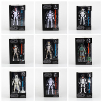 Star Wars A Série Negra Sandtrooper Boba Fett Stormtrooper Clone Trooper PVC Action Figure Toy Collectible Modelo Dolls 15 cm