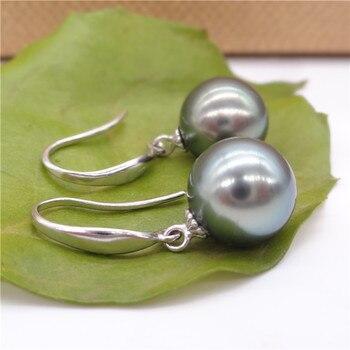 647860459a87 Venta al por mayor envío gratis> pendientes de perlas de concha de mar  redondas negras Tahiti de ...