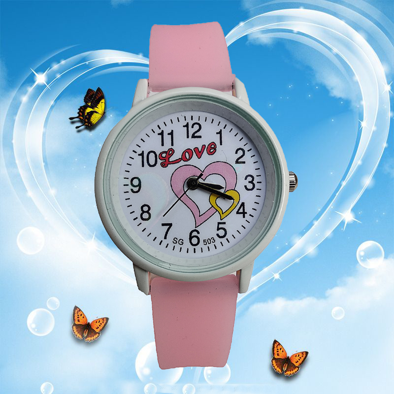 Romantic Love Heart Children's Watches For School Students Women Girls Clock Quartz Watches Kids Waterproof Sports Child Watch
