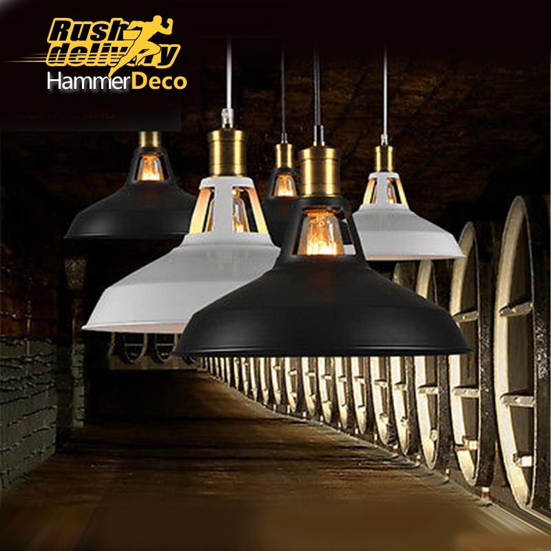 ФОТО black white industrial pendant light home lighting vintage pendant lamp retail