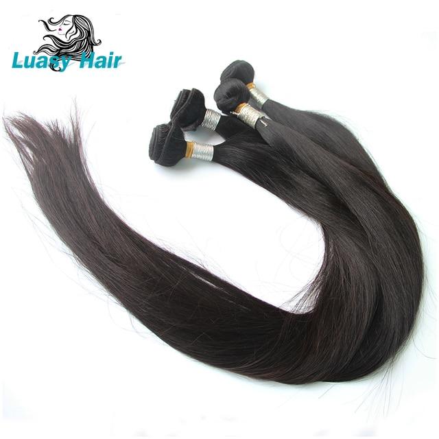 Luasy brasileño extensiones de pelo ondulado recto 100% Remy extensión del pelo color Natural 30 32 34 36 38 40 pulgadas extensiones de cabello humano