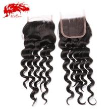 Ali Queen unprocessed human hair weave closures free part 4×4 Brazilian natural wave lace closure