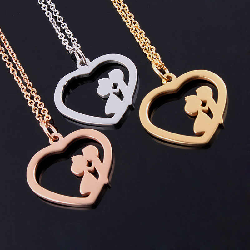 New 2016 Little Girls&Boys Kissing Love Heart Couple Pendant Statement Necklaces For  Lovers Jewelry Valentine's Day Gift Bijoux