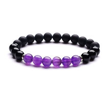 8mm Natural Stone Amethyst Stainless Steel Ring Energy Stone Ladies Bracelet(China)