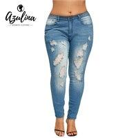 AZULINA Jeans Frau Herbst Neue Mode 2017 Plus Größe Dünne ausgestattet Zerrissenen Jeans Weibliche Beiläufige Dünne Loch Bleistift Denim Hosen 5XL