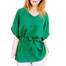 Blusas 2016 Summer Women Oversize Casual Loose Blouses Short Sleeve V Neck Blouse Solid Simple Shirts With Belt Plus Size 5XL