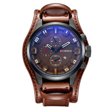 Men Punk Brown Leather Bracelet Wrist Watches Wide Watchband 48mm Big Dial Watch with Calendar Hours for Men Relogio Masculino