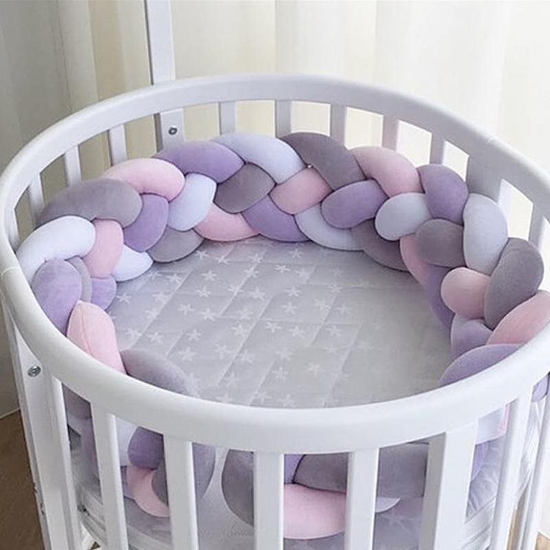 1m 2m Safety Knot Twist Bed Bumper Braided Baby Cotton Cushion Nursery Pillow Crib Protector Anti-collision Weaving Plush Knot