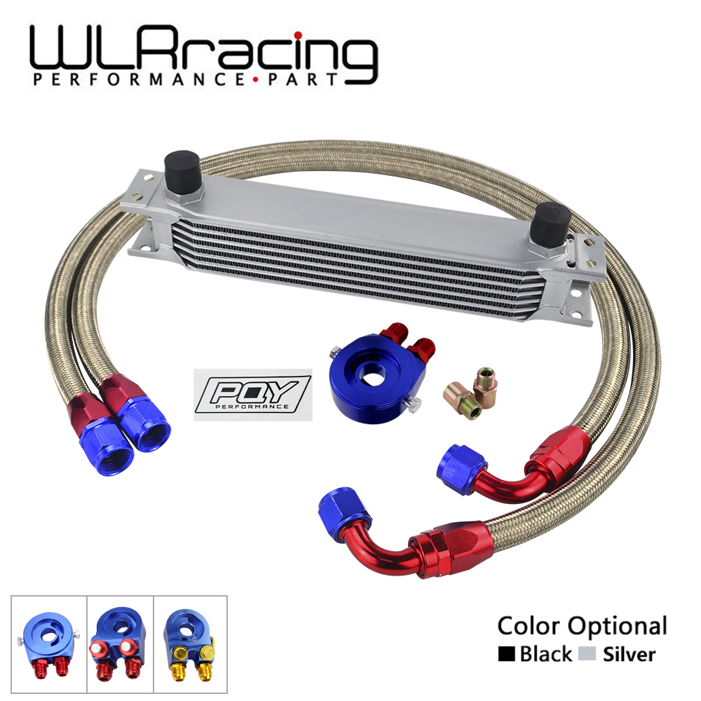 AN10 OIL COOLER KIT 7ROWS TRANSMISSION OIL COOLER OIL FILTER ADAPTER STAINLESS STEEL BRAIDED HOSE WITH