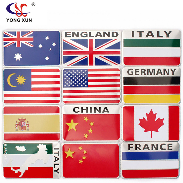Car styling australia italy germany spain canada france malaysia england flag car sticker united states badge