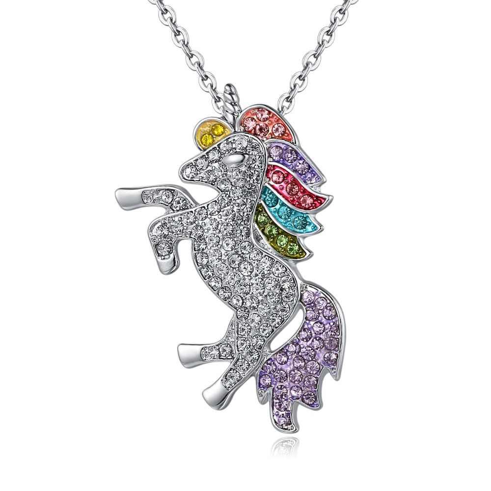 2019 ファッションクリスタルユニコーンネックレス & ペンダント女性のためのベビーギフト女の子のためのレインボー動物ネックレス