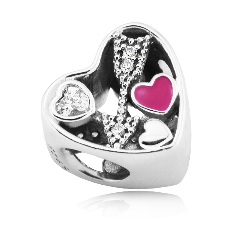 Fits For Pandora Bracelets Struck by Love Charms with Cerise Enamel 100% Sterling Silver Beads Free Shipping