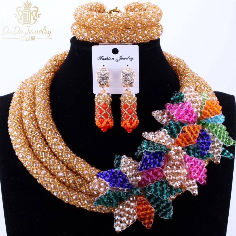 2017 Trendy Gold African Nigerian Wedding Beads Flowers Fine Jewelry Set Copper Earrings 3 Layers / Layered Ladies Necklace Sets trendy letter beads layered necklace for women