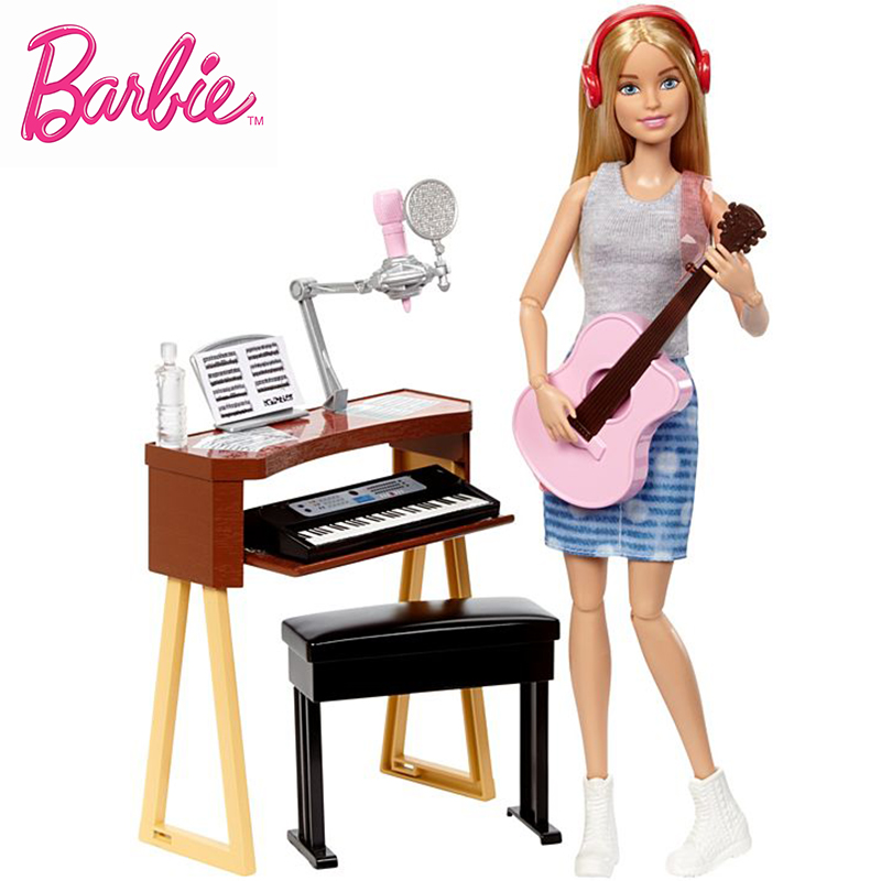 Original Barbie Brand Musician All Joints Move Set Barbie Girl Doll Toys Birthdays Girl Gifts For Kids Boneca toys for children original barbie toys barbie musician doll & playset barbie dolls set collector model figure all joints toy gift for girls boneca