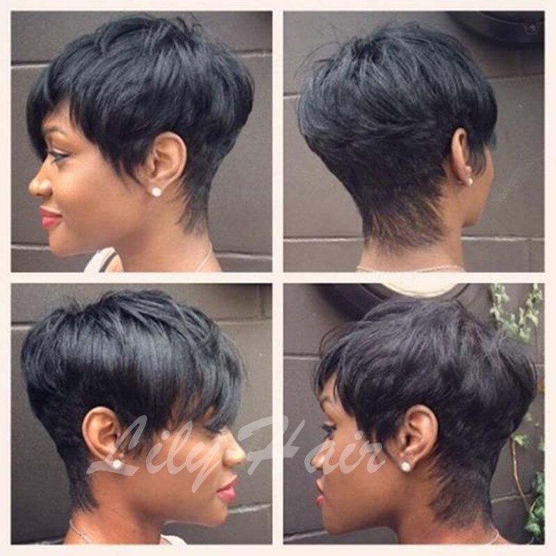 Human Black Hair Short Cut Wigs Cheap Short