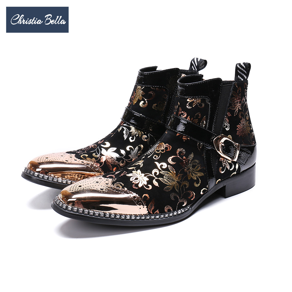 Christia Bella Luxury Bullock Men Genuine Leather Boots Gold Print Wedding Party Dress Shoes Plus Size Buckle Men Ankle Boots