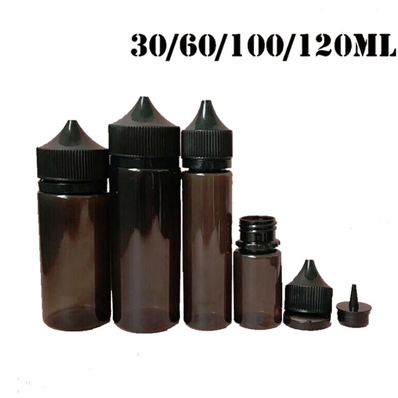 10pcs 30ml/60ml/100ml/120ml Empty Black PET E Juice Bottle Vape Dropper Bottles Childproof Cap Liquid Cig Oil Fill Containers