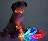 FG87 Free Shipping New USB Rechagerable Pet Dog Collar LED Nylon Leopard Pattern Light Emitting Collars