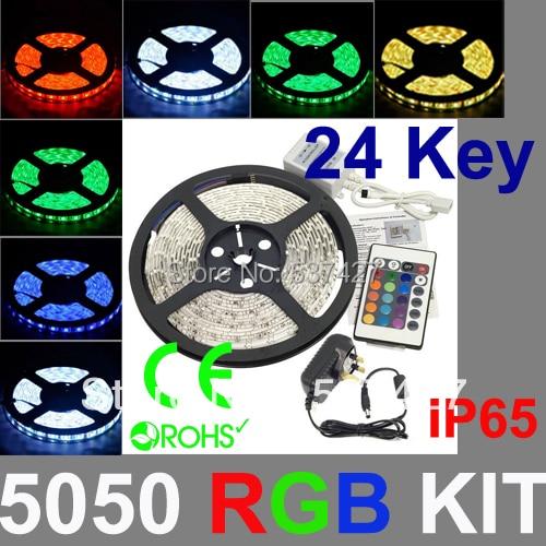IP65 waterproof 5050 RGB Strip Light Kit,  300led/5m RGB Strip+24 key&IR remote controller+12V6A driver, 5 Sets/Lot