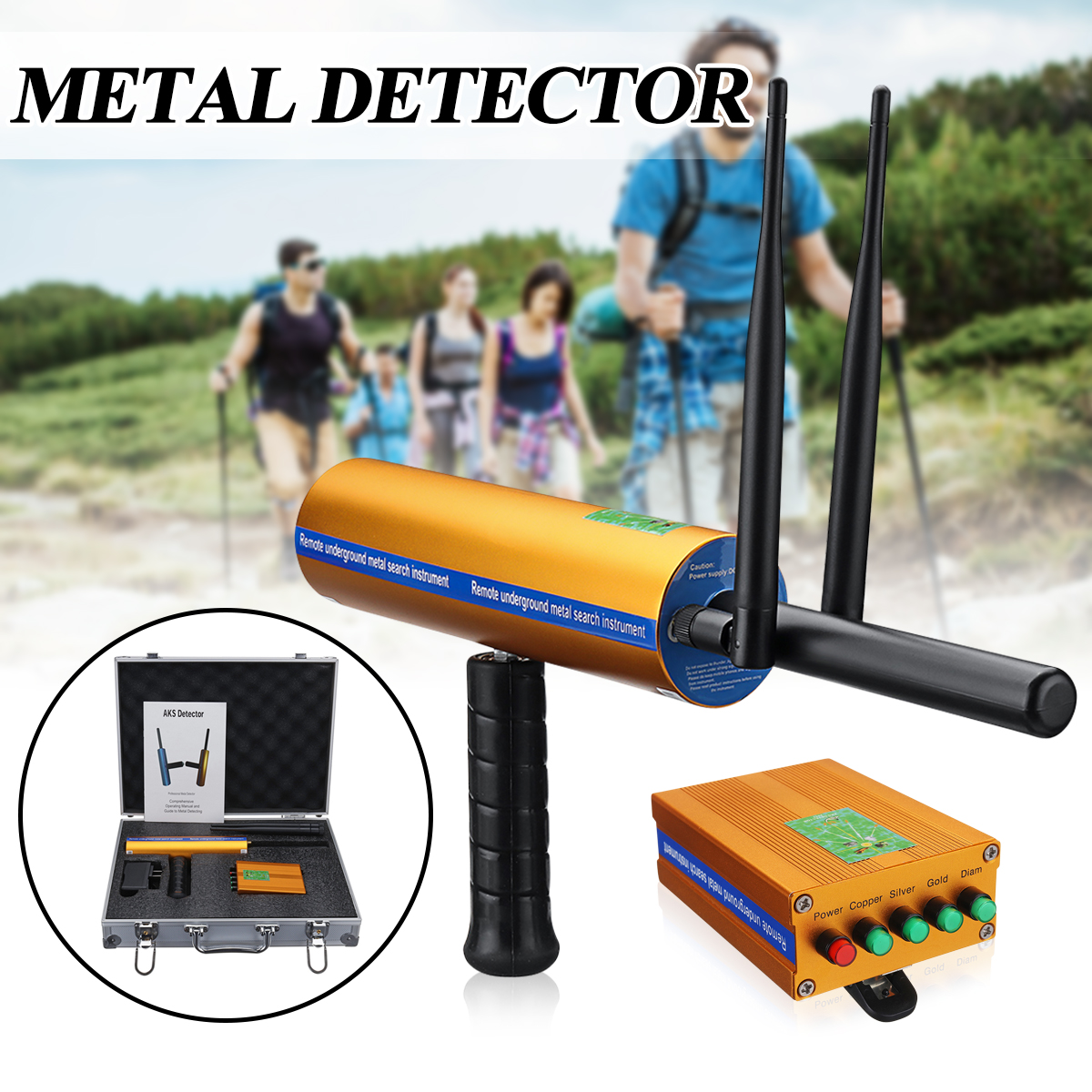 Deepth AKS 3D Metal Detector Double antenna Upgraded version Long Range Metal Detector gold silver copper diamond Detector new underwater metal detector long range gold diamond copper silver jewel detector epx10000 3d metal detector