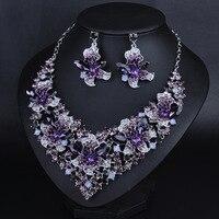 Neue design brautschmuck set Dubai lila multicolor kristall versilberung schmuck prom hochzeit halskette ohrring set