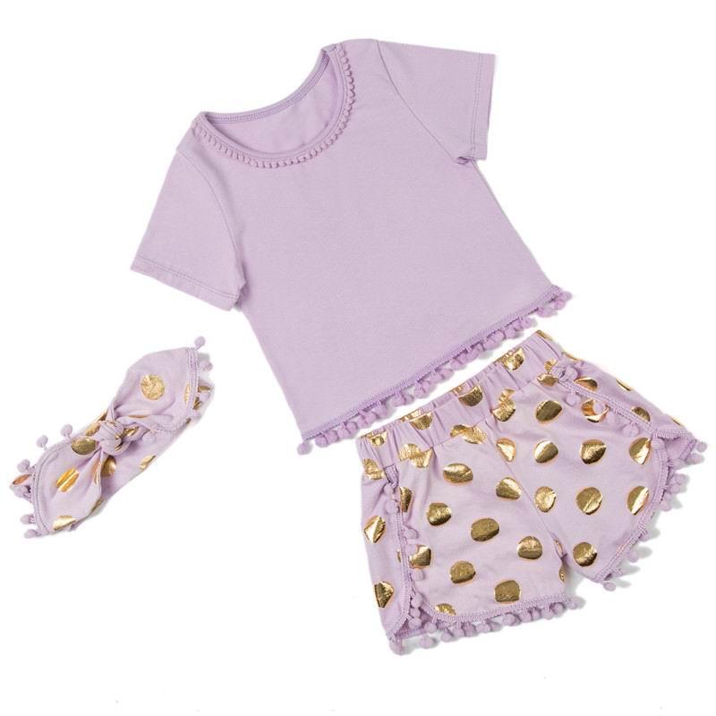 2016 New Girl Sets Short Sleeve T-shirts+Polka Dot Shorts+Headbands Summer 3 Piece Fashion Sets Children Clothing 0-5T 9274