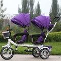 Doble los niños triciclo doble triciclo cochecito de bebé bici bicicleta