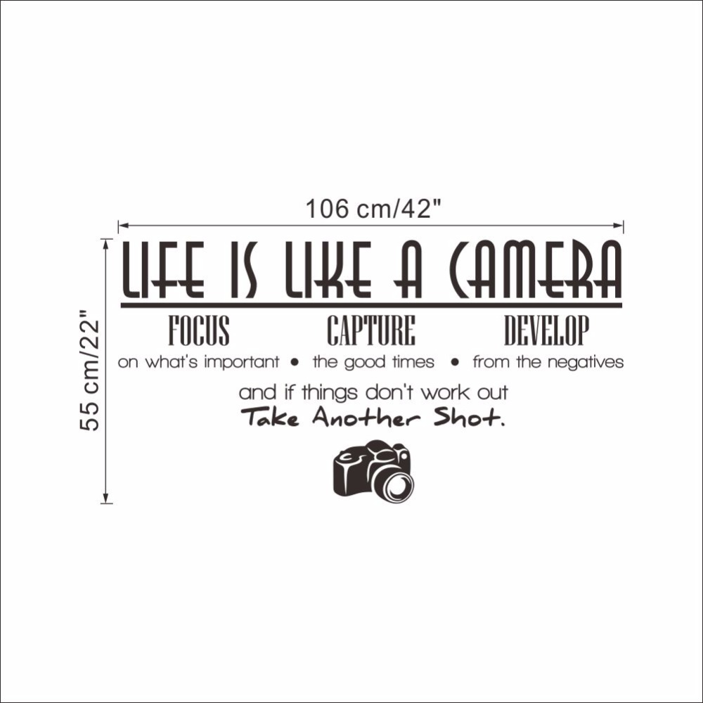 Creative home decor plane wall stickers english quotes life is creative home decor plane wall stickers english quotes life is like a camera for living room mural art 42106 cm room decals in wall stickers from home amipublicfo Gallery