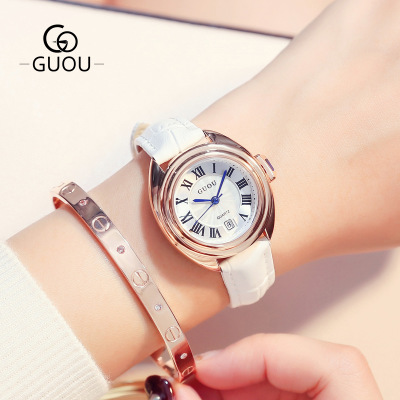 GUOU 2018 Top Luxury Brand Watch Women Casual Leather Watches Roman numerals Vintage Ladies Quartz Wristwatch relogio feminino цена