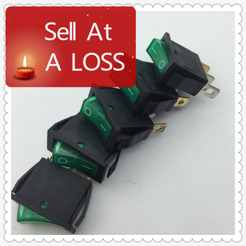 5pcs/lot Green LED Light SPST 3PIN ON/OFF G124 Boat Rocker Switch 16A/250V 20A/125V Car Dash Dashboard Truck RV ATV Home