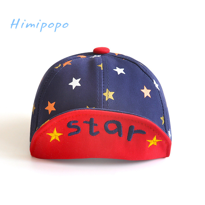 HIMIPOPO Summer Cotton Outdoor Infant Hats Cute Embroidery Star Soft Eaves Baseball Cap Baby Boys Girls