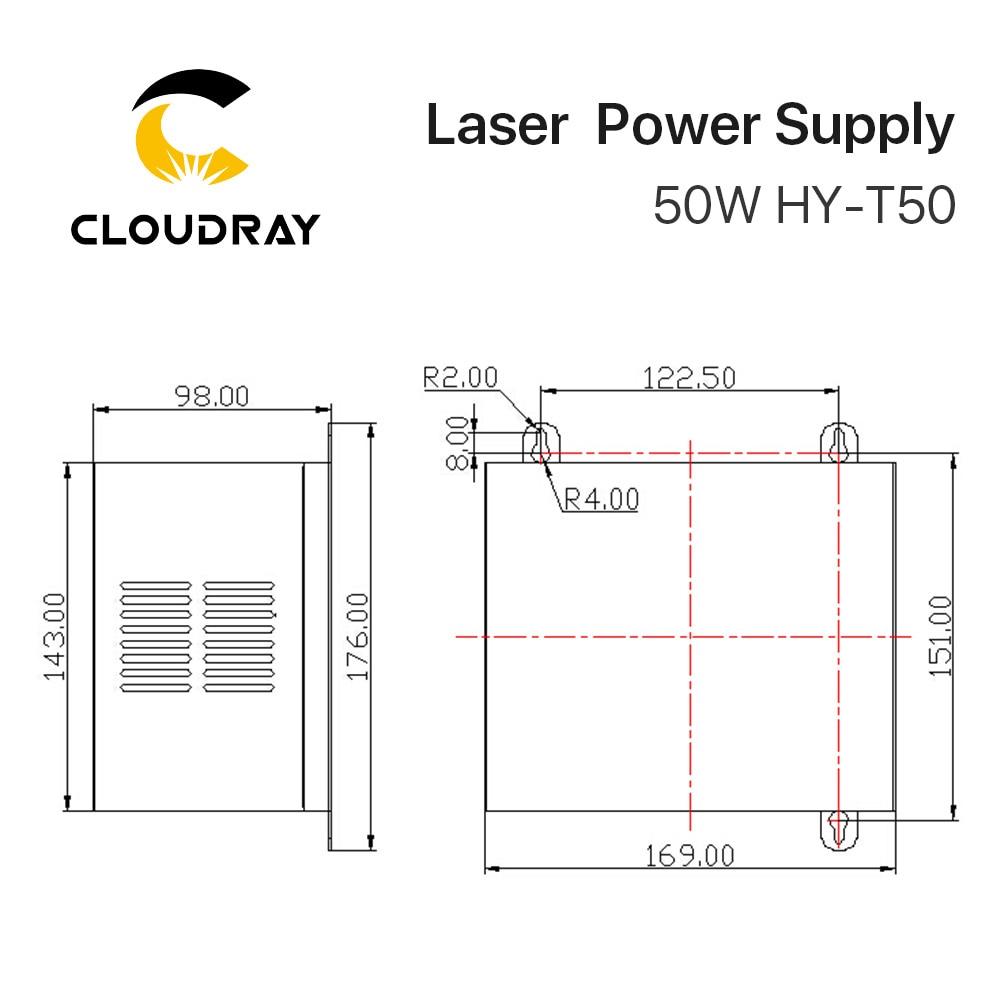 """""""Cloudray"""" 50 W CO2 lazerio maitinimo šaltinis, skirtas CO2 - Medienos apdirbimo mašinų dalys - Nuotrauka 6"""