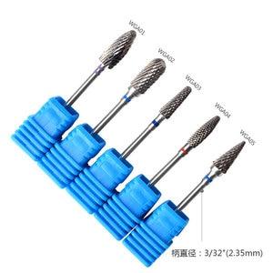 Image 2 - 1 шт. синий конусный наконечник для ногтей вольфрамовые стальные сверла электрическая кутикула чистая ротационная для маникюра педикюра Шлифовальная головка инструмент