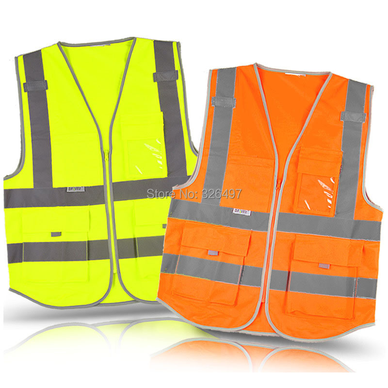 Multi Pocket Reflective Safety Vest Construction Work Clothing Road Traffic Sanitation Yellow Orange Free Shipping In From
