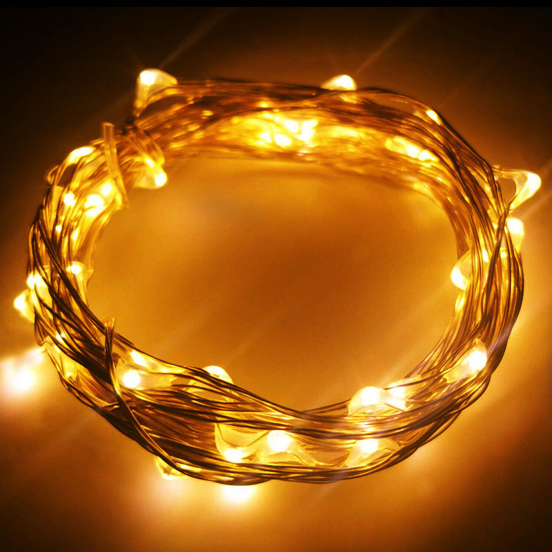LED Silver Wire String Lights New 1M 2M 5M 10M Battery Operated For Xmas Garland Party Wedding Decoration Christmas Fairy Lights