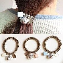 Shapu Alloy cute jelly spray paint bear pendant line acrylic rope women fashion hair accessories lady scrunchies headwear