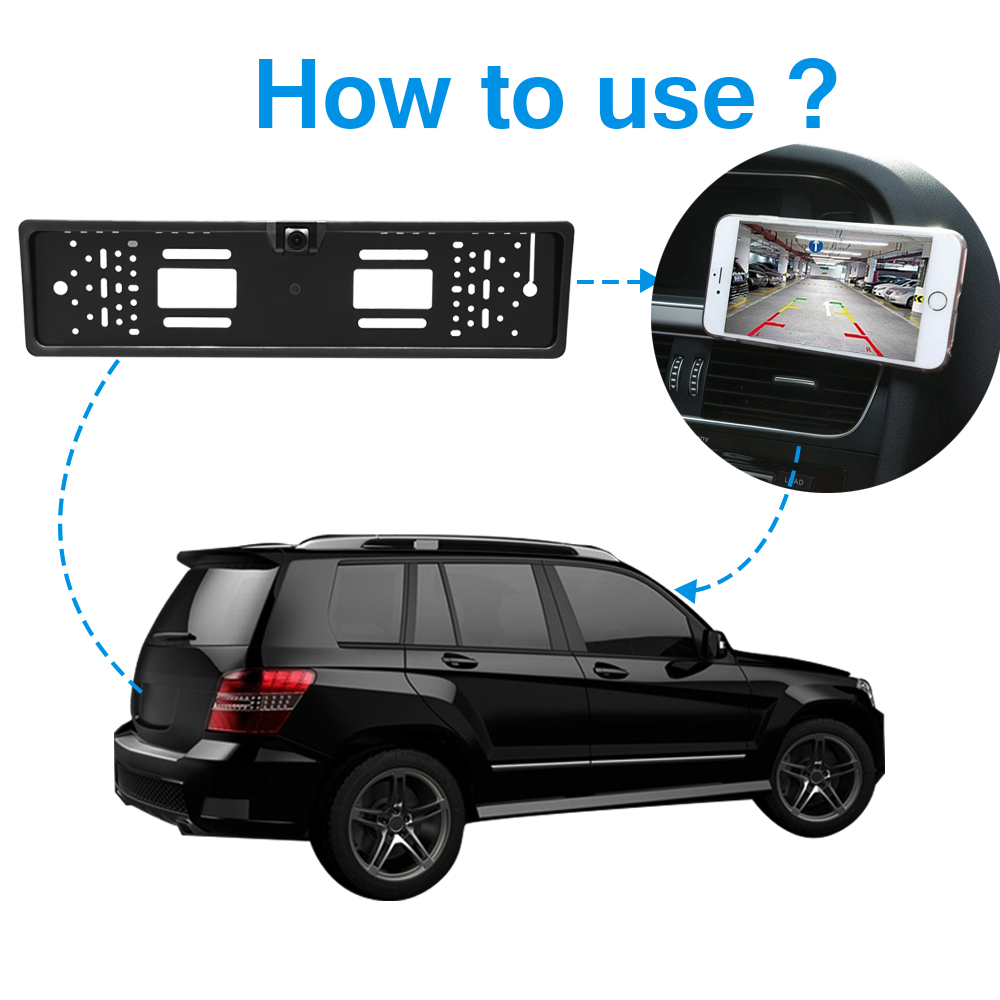 Image 3 - EU HD Camera License Plate Frame Car DVR Wifi Backup Parking Reverse Rear View Camera Vehicle Auto Security Camera Night Vision-in Vehicle Camera from Automobiles & Motorcycles